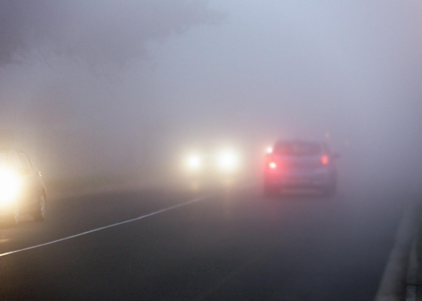 carros a circular com nevoeiro
