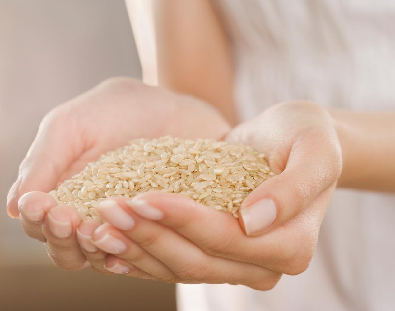 arroz integral na mão