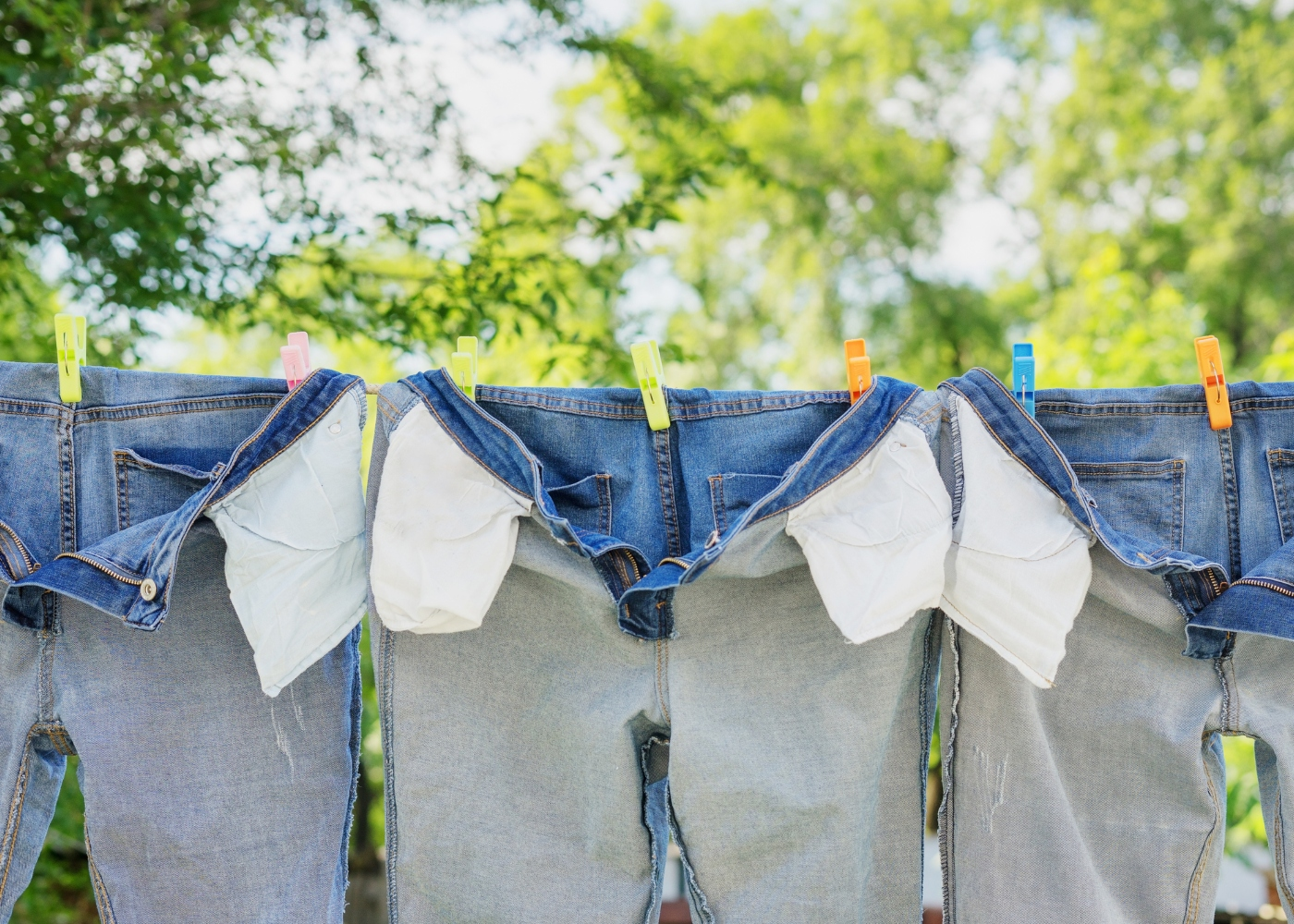 calças de ganga no estendal a secar