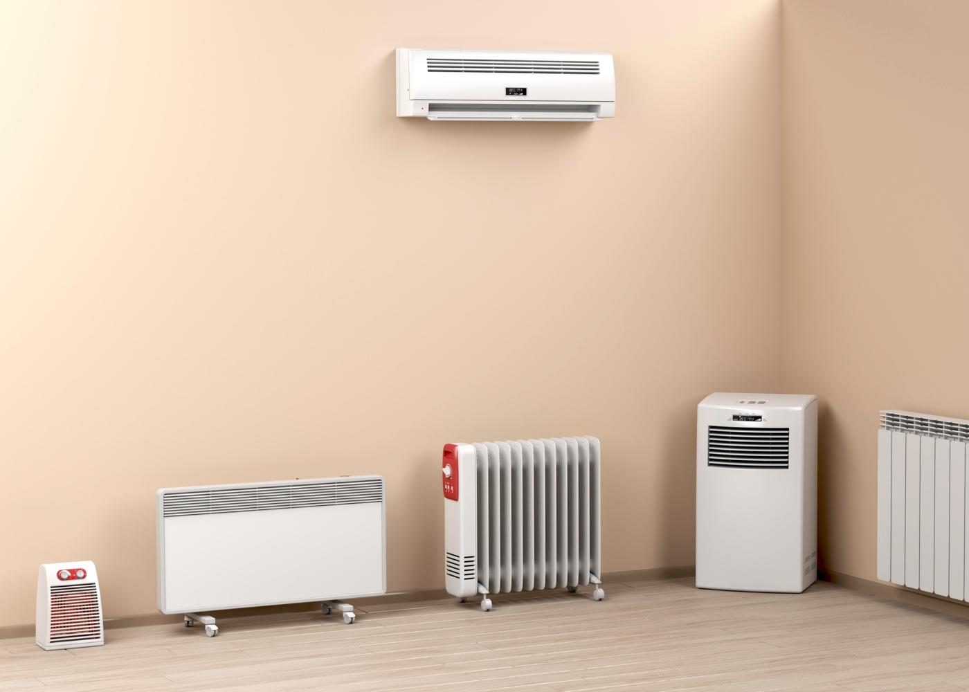 vários tipos de aquecedores