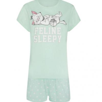 pijama t-shirt e calçoes verde primark