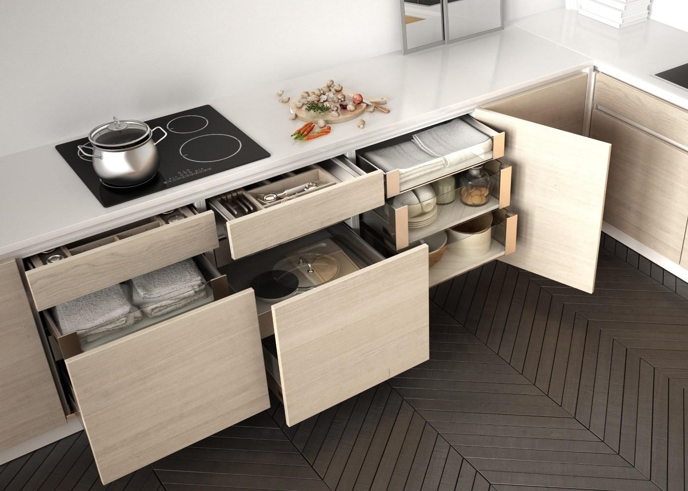 cozinha com muita organização das gavetas