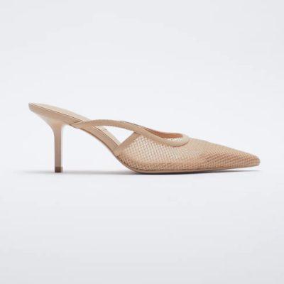 sapatos de tacão com rede Zara
