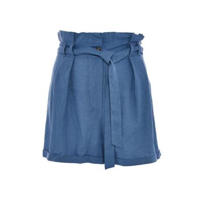 calções de linho azuis