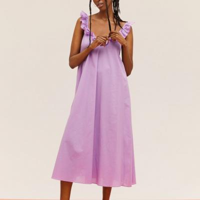 vestido midi lilas