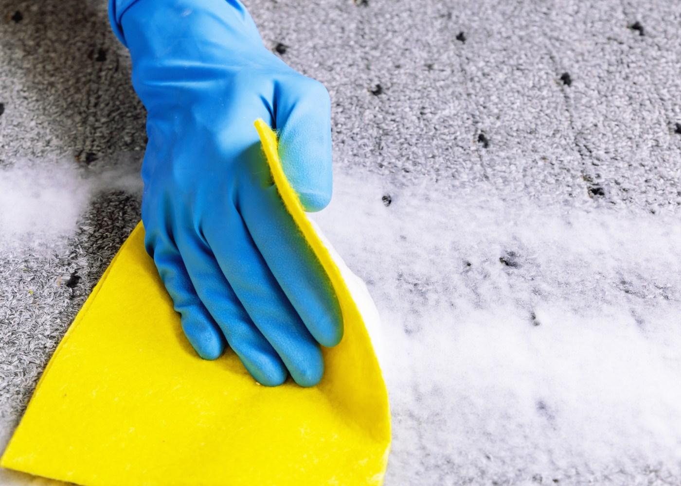 pessoa a limpar carpete com pano