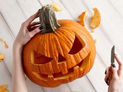 Abóbora cortada para a festa de Halloween