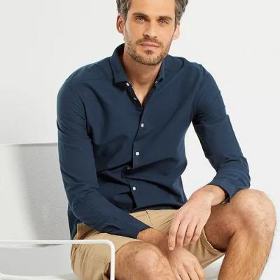 camisa oxford azul escura