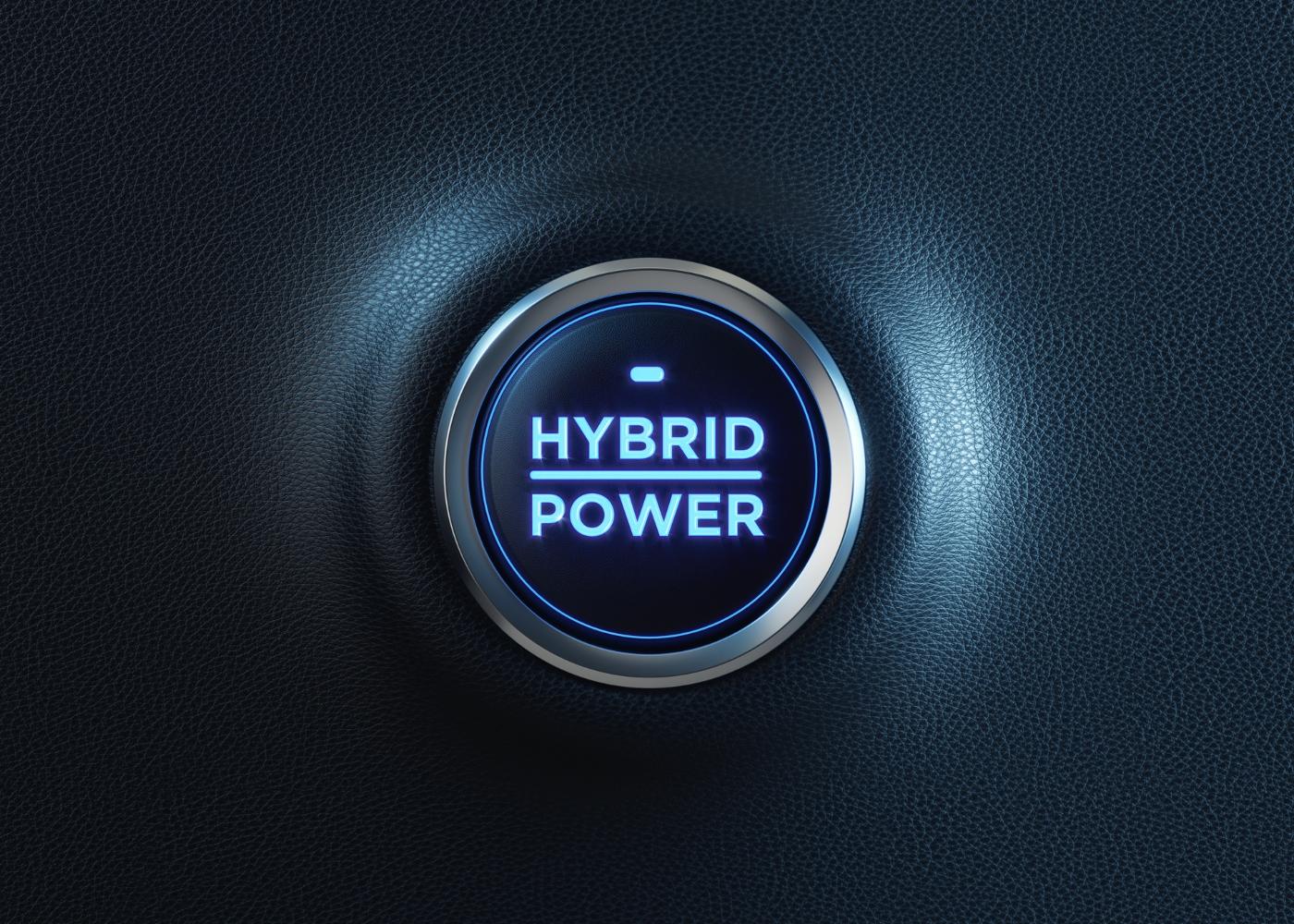 botão a dizer hybrid power a representar carros híbridos com menor consumo