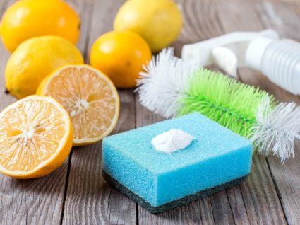 limão, esfregão e escova de lavar copos numa mesa
