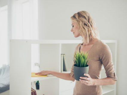mulher a limpar móvel