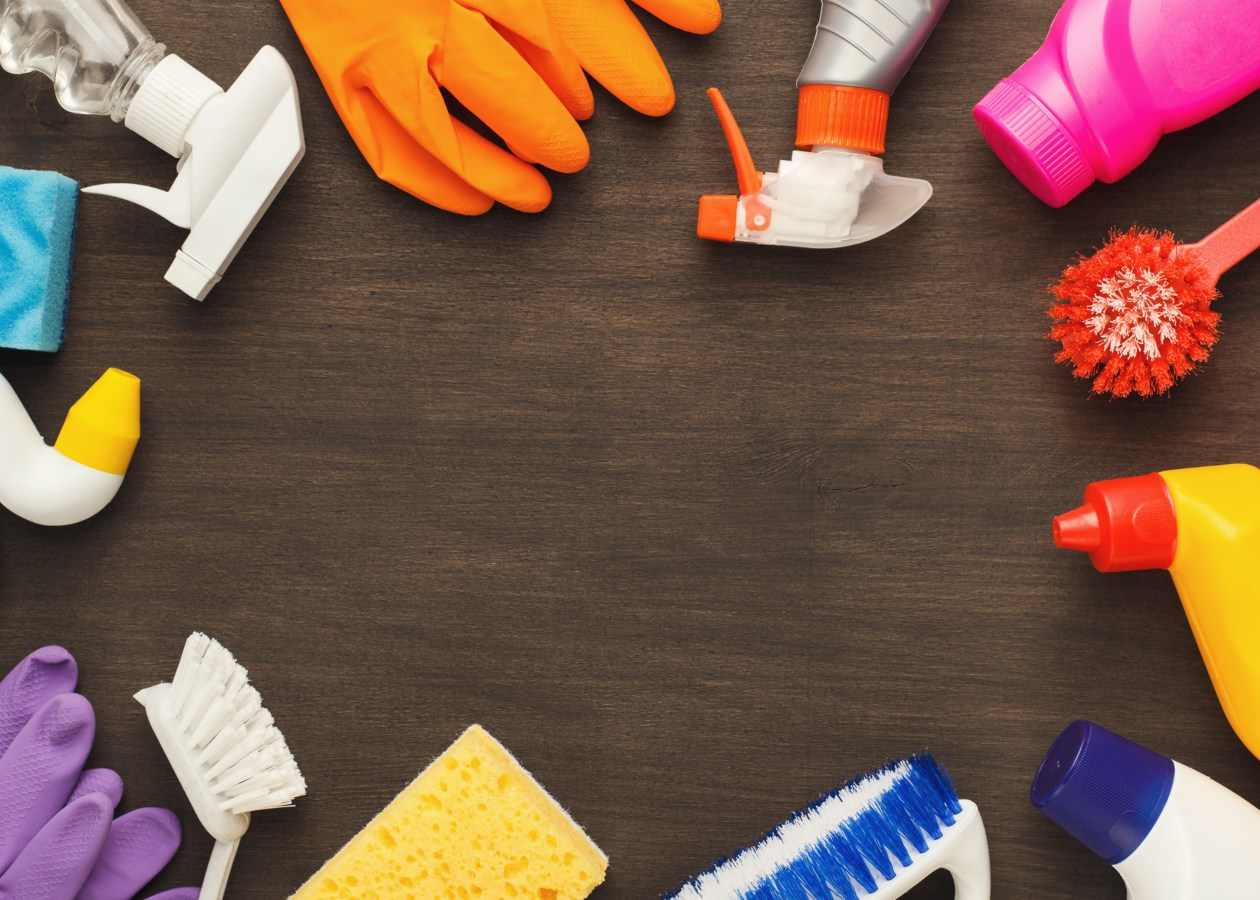 vários produtos de limpeza dispostos em círculo