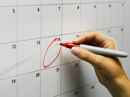 marcação num calendário