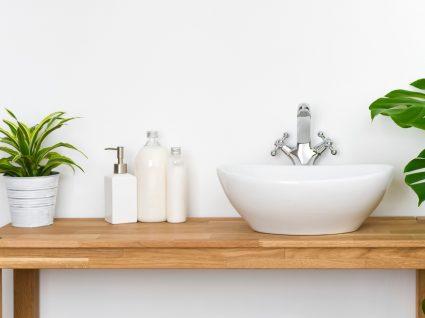 mesa de lavatório com frascos de sabão e plantas