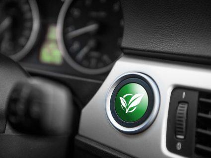 botão de ligar o carro com símbolo ecológico