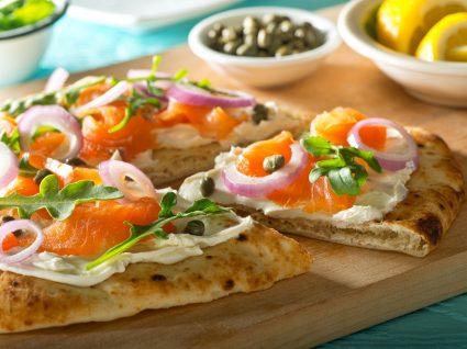 Receita fantástica de mini-pizzas de salmão