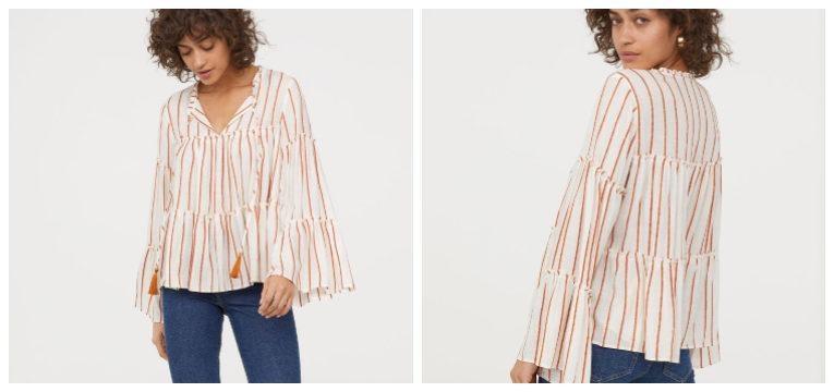 blusas de primavera-verão riscas laranja