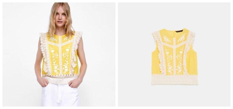 blusas de primavera-verão amarelo zara