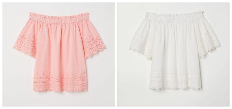 blusas de primavera-verão rosa branco