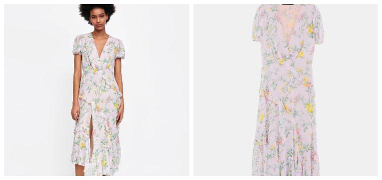 peças da zara de primavera-verão vestido florido