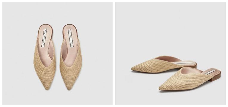 peças da Zara de primavera-verão mules ráfia