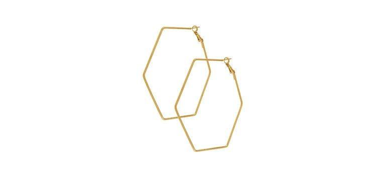 bijuteria da primark brincos dourados hexagono
