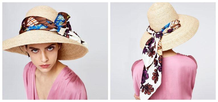 chapéus para a primavera verão ráfia lenço