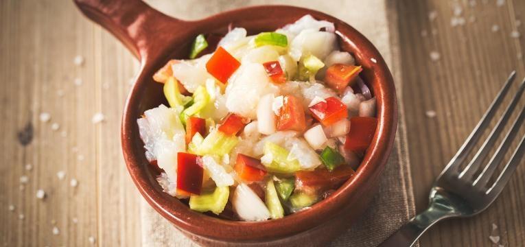 salada de bacalhau e maçã