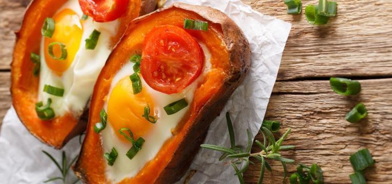batata doce com ovo