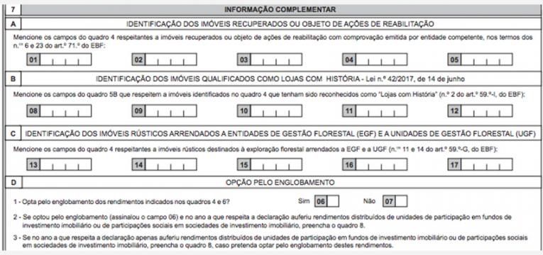 rendimentos da categoria F