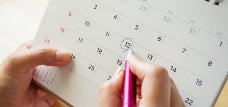 marcação de data no calendário