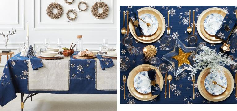 Toalha de mesa com flocos de neve estampados