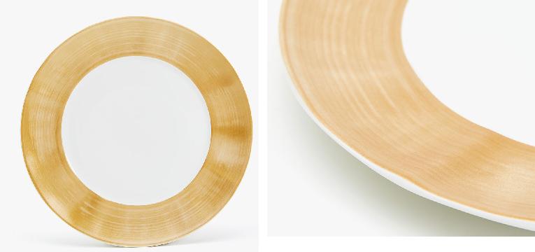 Prato raso porcelana rebordo dourado