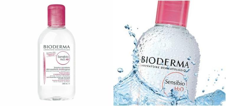 agua micelar bioderma frasco transparente rosa
