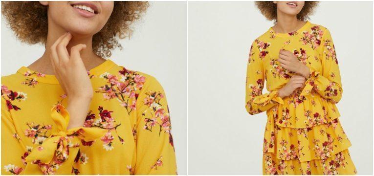 pecas da H&M que vai querer comprar na primavera vestido folhos amarelo rosa