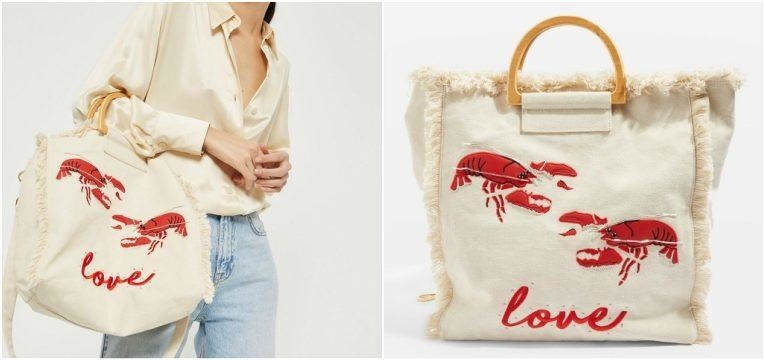 as lagostas são tendência mala canvas bordada topshop