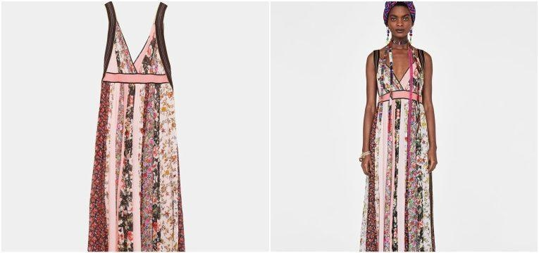 vestido rosa patchwork zara studio