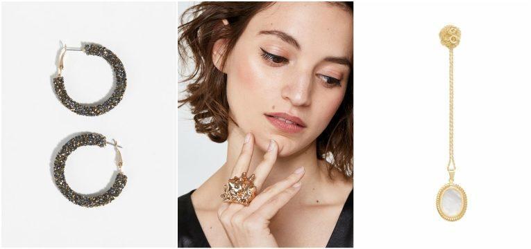 argolas glitter parfois anel buzio dourado uterque colar madreperola prata dourado cinco