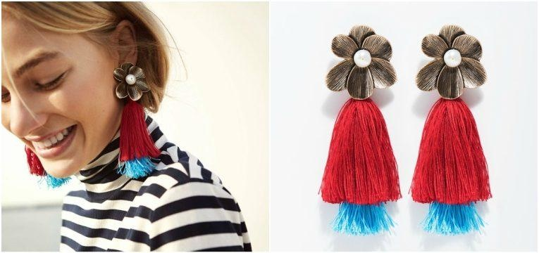novidades da parfois brincos flor vermelhos azuis franjas