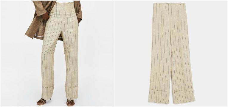 melhores peças da Zara para oferecer no dia da mãe calcas linho riscas