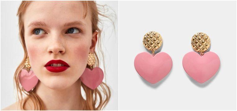 melhores peças da Zara para oferecer no dia da mãe brincos coracao rosa