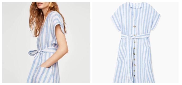 vestido branco riscas azul claro peças da mango que invadiram o instagram