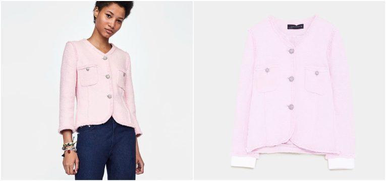 melhores peças da Zara para oferecer no dia da mãe casaco tweed rosa