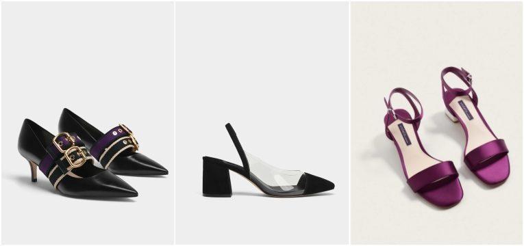 sapatos pretos fivelas douradas plastico uterque sandalias cetim roxo