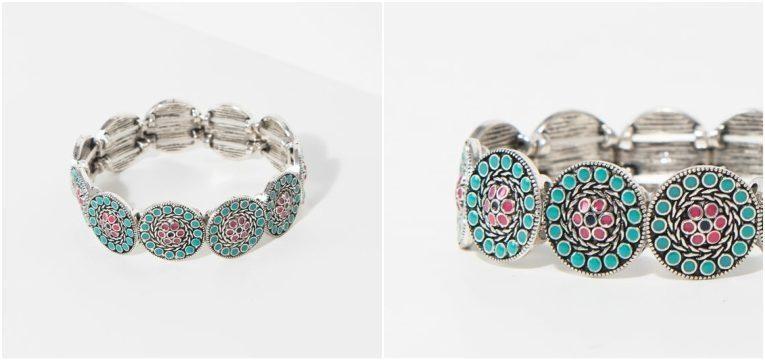 pulseira prateada flores turquesa novidades da parfois