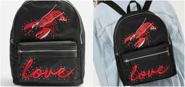 mochila preta lagosta vermelha as lagostas são tendência
