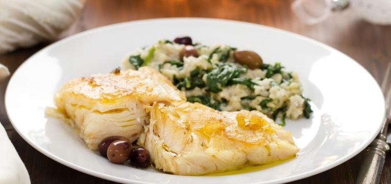 espinafres e bacalhau