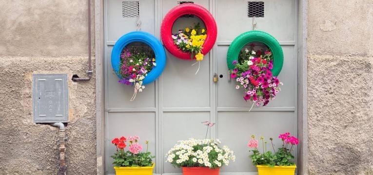 decoração com pneus