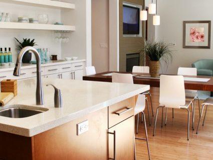 cozinha e sala em open space