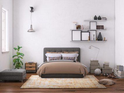 decoração de quarto em tons de castanho claro